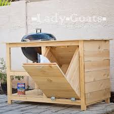 Diy Built In Storage Kettle Grill Cabinet With Built In Charcoal Storage Outdoors