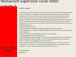 Restaurant supervisor ...