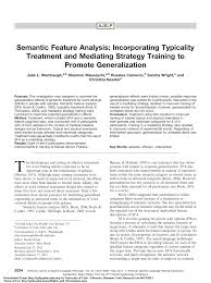 Pdf Semantic Feature Analysis Incorporating Typicality