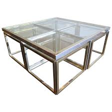 large square coffee table in brass and