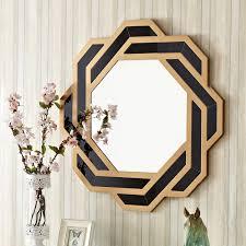 black frame octagonal wall mirror