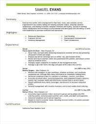Fast Food Worker Resume Work Resume Examples Sample Resume High School No Work Experience 75