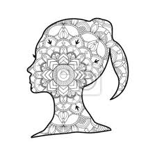 Vektor Illustration Eines Mädchens Kopf Mandala Für Malbuch