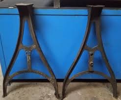 old cast iron and steel table bases