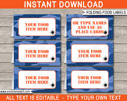 Blue Camouflage Party Decorations Nerf Food Labels Place Cards Printable Template