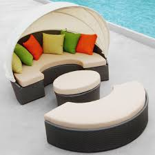 Round Outdoor Bed Spacious Outdoor Lounge Bed Design With Green Canopy And Black