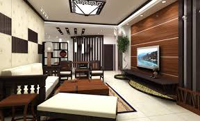 Living room, Luxurious Living Room Interior Featuring TV With Wooden  Panelling Dark Cabinet Red Side Table Star Decor Wall Plant Pot White  Marble Floor ...