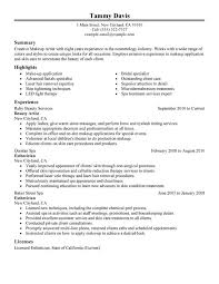 beauty artist resume sle