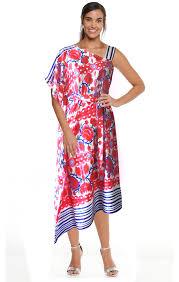 All Dresses Rose Larkspur Draped Shoulder Midi Kaftan Dress In