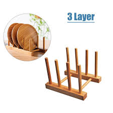 outflety bamboo dish rack dishes drainboard drying drainer storage holder stand kitchen cabinet organizer for