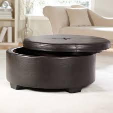 round black leather ottoman coffee table with storage decofu