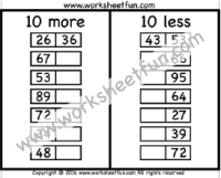 10 More 10 Less Anchor Chart Addition Subtraction 10 More 10 Less Free Printable