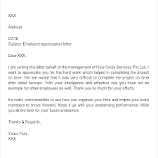 Thank You For The Hard Work Letter Sample Service Letters Templates With Employee Recognition