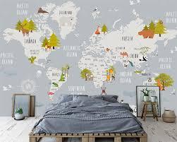 Beibehang Aangepaste Behang Cartoon Wereldkaart Kinderen Kamer