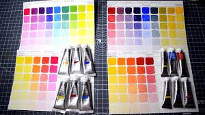 Making Color Mixing Charts For Watercolors And Gouche With Primary Colors
