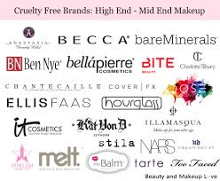 free brands makeup high end mid end brands