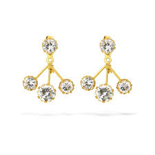 changeable style two in one cubic zirconia earrings 22kt yellow gold