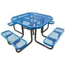 commercial outdoor 46 octagonal expanded metal table with seats select your color