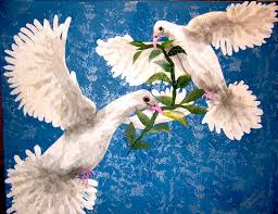 peace doves with olive branch no paint used all shreds of anese paper