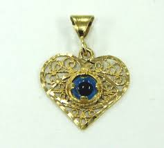 details about estate jewelry 21k yellow gold filigree heart pendant with evil eye