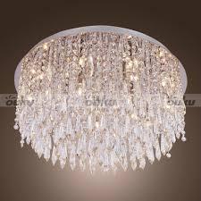 modern interior design crystal prism flush ceiling light