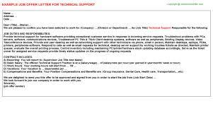 Technical Offer Sample Technical Support Job Offer Letter
