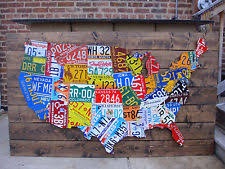 license plate map wall art