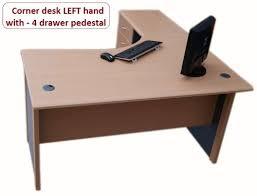 office corner desk. 1.4 M Home Office Corner Desk Left Hand With 4 Drawer Pedestal - (Beech / Dark Grey): Amazon.co.uk: Kitchen \u0026