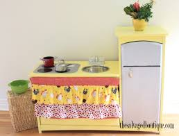 Play Kitchen From Old Furniture Upcycled Sunny Kids Play Kitchen The Salvaged Boutique
