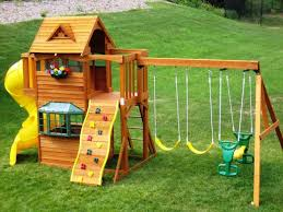 wooden swing sets for small backyards swing