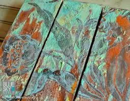 creating an art canvas project with heavy texture rust patina and a stencil modern masters metal effects