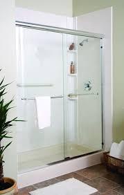 Walk in shower with Sliding Glass Shower Door., white pan, tile,