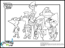 Phineas And Ferb Coloring Pages Team Colors