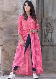 Kota Doria Suits Designs Readymade Pink Kota Doria Leheria Kurta
