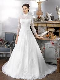 Vintage Oriental Long Sleeve High Collar Lace Wedding Dress
