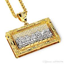 whole fashion designer hip hop rock big pendant necklaces last supper design 18k gold plated 75cm long chains jewelry for men jewelry silver