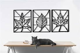 triple leaf metal wall decor home metal