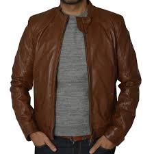 sel mens brown leather jacket