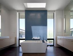 View in gallery Skylight sheds the spotlight on the accent wall in the  minimalist bathroom [Design: Ibarra