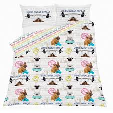 gym addict duvet cover with pillow case set pug dog animal white double