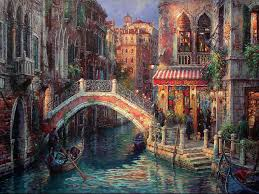 venice over the bridge painting cao yong venice over the bridge art painting