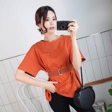 O-Neck <b>shintimes</b> Office Lady <b>Tshirt Pockets</b> Sashes <b>T Shirt</b> Women ...