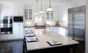 transitional kitchen ideas. Awesome Transitional Kitchen Ideas With White Hanging Lamps And Modern Sink R