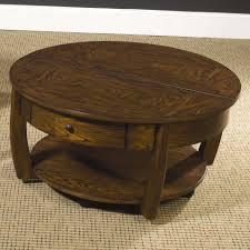 round lift top cocktail table with lower shelf and drawer for recent round coffee tables with
