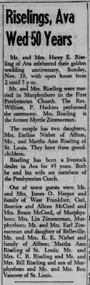 Harry and Myrtle Zimmerman Riseling, Southern Illinoisan, 11/25/1956 -  Newspapers.com