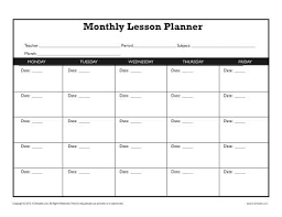 Template For Lesson Plan Monthly Lesson Plan Template Secondary