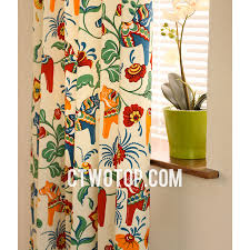organic chic cotton soundproof beige multi color patterned bay window curtains
