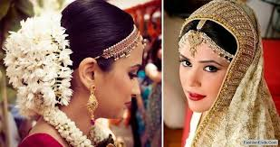 left gajra fl hair garland right matha patti head jewellery with a central chain and attached chains that flow along the hair line
