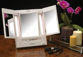 jerdon tabletop tri fold 2 sided lighted makeup mirror with 5x magnification and 4 light settings white com