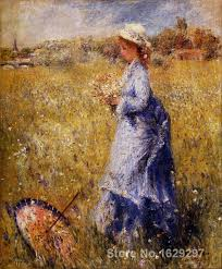 modern art gallery girl gathering flowers pierre auguste renoir painting high quality hand painted